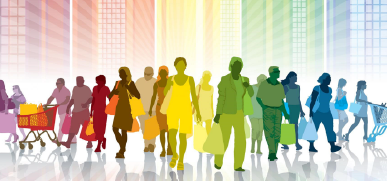 A group of people with shopping bags